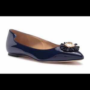 Tory Burch Melody Pointy Toe Flat Navy 6.5, 8 NIB